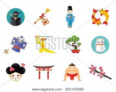 Ninja Icon Set. Japanese Kite Japanese Cranes Torii Gate Bonsai Tree Koi Fish Japanese Ninja Sumo Wr