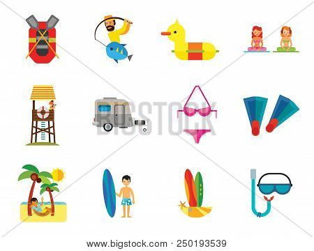 Summer Vacation Icon Set. Caravan Man Drinking Cocktail Rubber Duck Diving Mask And Snorkel Rubber B