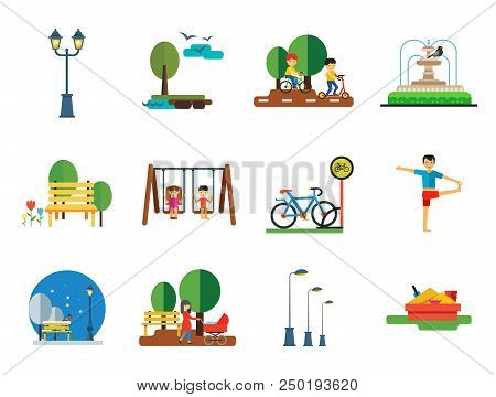 Park Icon Set. Winter Park Cycling Sandbox Park Fountain Bicycle Parking Lamps Walking Girls On Swin