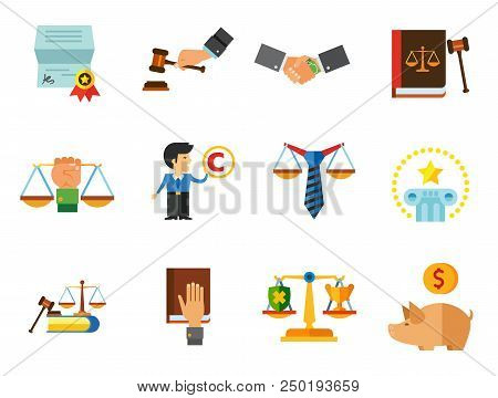 World Of Law Icon Set. Copyright Hand With Gavel Scales Law Concept Scales With Cup And Shield Corru