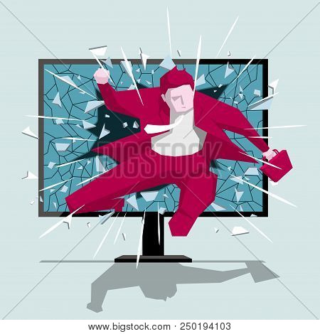 Businessman Hurdles Running, Cross The Computer Monitor. Background Is Blue.