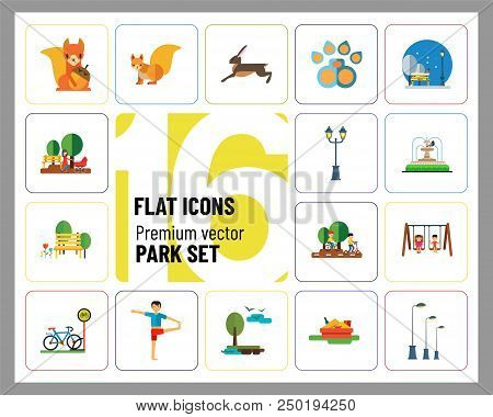Park Icon Set. Winter Park Cycling Sandbox Fountain Bicycle Parking Park Lamps Walking In Park Girls