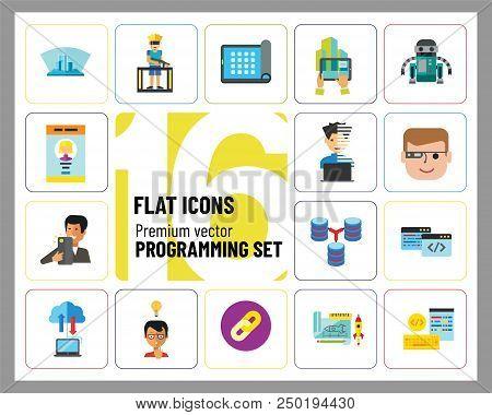 Programming Icon Set. Robot Database Hyperlink Programmer Programming Prototype Interface Workflow C
