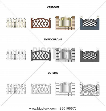 A Fence Of Metal And Bricks, Wooden Palisade. A Different Fence Set Collection Icons In Cartoon, Out