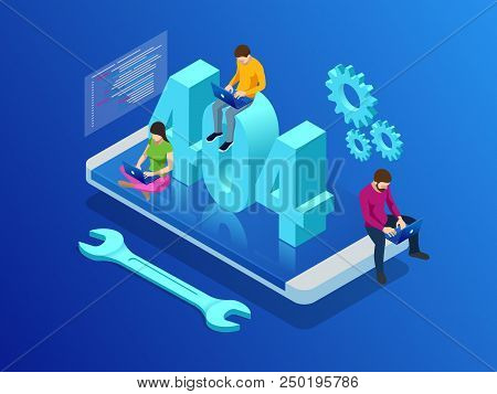Website Under Construction Page. Isometric Error 404 Page Layout Vector Design. Website 404 Page Cre