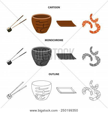 Sticks, Shrimp, Substrate, Bowl.sushi Set Collection Icons In Cartoon, Outline, Monochrome Style Vec