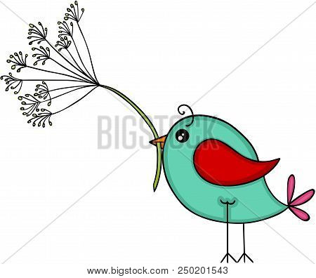 Scalable Vectorial Representing A Blue Bird With Dandelion Flower, Element For Design, Illustration