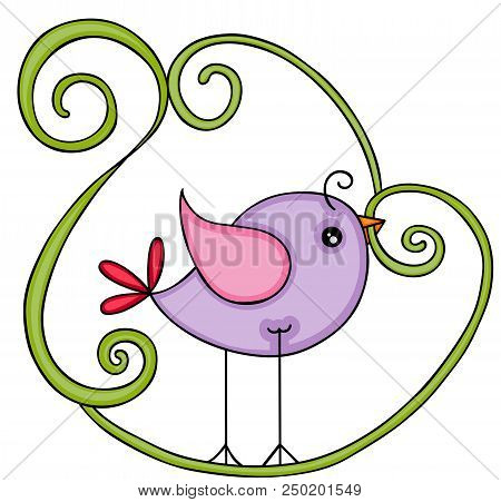 Scalable Vectorial Representing A Cute Purple Bird, Element For Design, Illustration Isolated On Whi