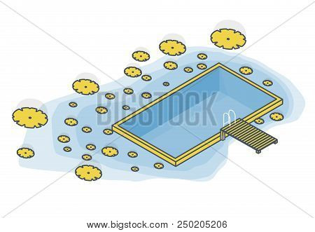 Outlined Isometric Garden Project At Bathing Pond. Oasis Of Calm In Garden Of House. Swim Pond With