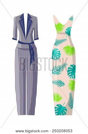Striped Costume And Dress With Floral Print Set. Stylish Light Summer Suit And Long Elegant Frock. F