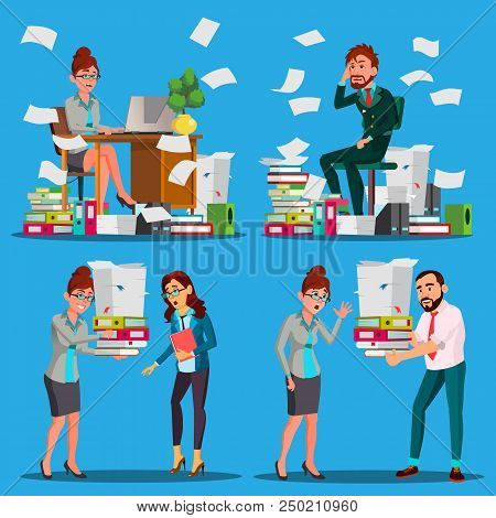 Business People Doing Paperwork Vector. Office Workers. Very Busy Day. To Excessive Work. Accounting