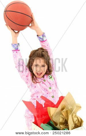 Excited Girl Child With Basketball For Christmas
