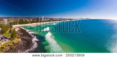 Aerial view of Burleigh Heads - a famous surfing beach suburb on the Gold Coast, Queensland, Australia
