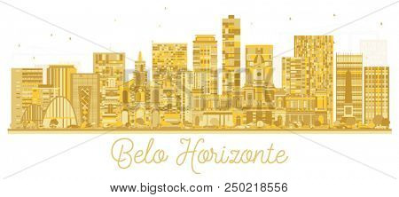 Belo Horizonte Brazil City Skyline Golden Silhouette. Simple Flat Concept for Tourism Presentation, Banner, Placard or Web Site. Business Travel Concept. Belo Horizonte Cityscape with Landmarks.