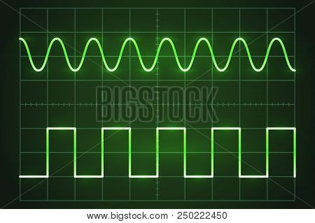 The Green Screen Of An Oscilloscope With Waves