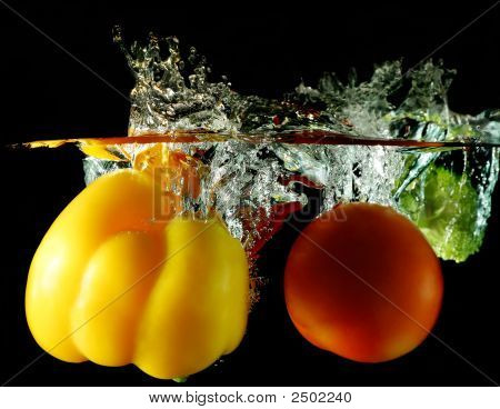Vegetables Dropped Under Water