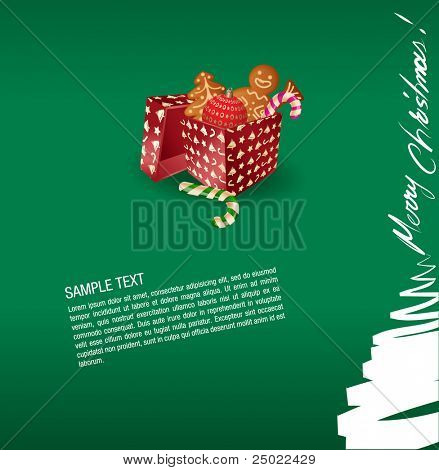 christmas greeting card- present, sweet and gingerbread cake- vector