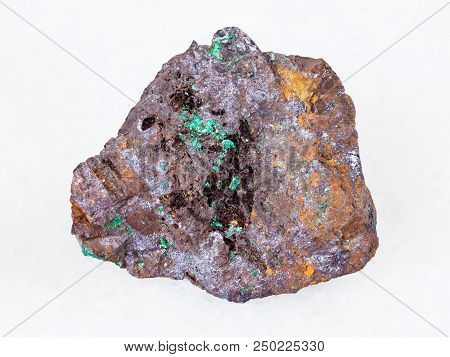 Macro Shooting Of Natural Mineral - Red Cuprite Ore And Green Malachite Crystals In Raw Limonite Roc