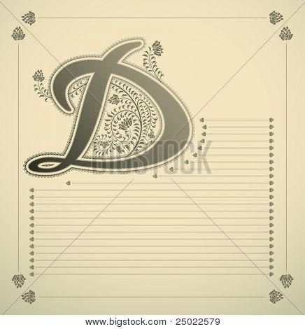 ornamental letter - D- vector