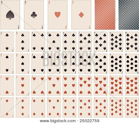 vector playing cards- 1 to 10