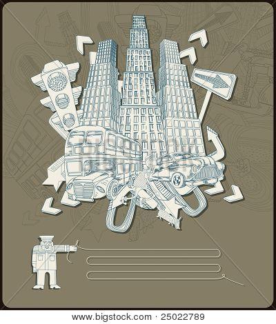 city elements - composition- vector
