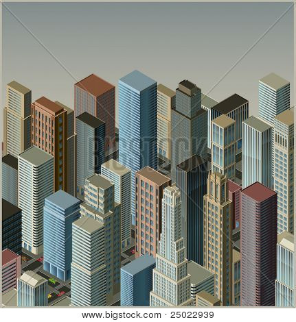 city-isometric vector