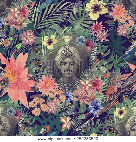 Semaless Watercolor Vintage Pattern With Maharajah Portrait, Flowers, Leaves, Flowers