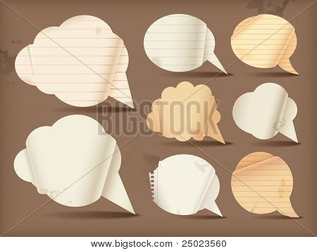 Wavy paper speech bubbles - round
