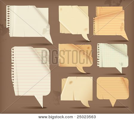 Wavy paper speech bubbles -rectangular