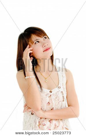 Cute Girl Thinking About Something On White Background