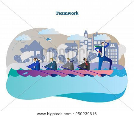 Business Teamwork Conceptual Vector Illustration With Rowing Team Unity And Leader Moving To Success