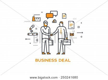 Businessman And Worker Shaking Hands. Cooperation Interaction. Illustration Eps 10 File. Success Coo