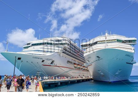 Grand Turk, Turks And Caicos Islands - April 03 2014: Carnival Liberty And Carnival Victory Cruise S