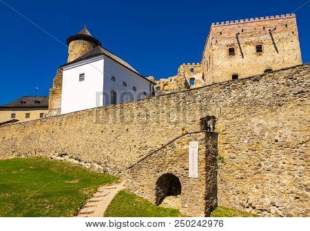 Stara Lubovna, Slovakia - Aug 28, 2016: Stone Walls Of Stara Lubovna Castle. Popular Tourist Destina