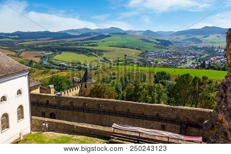 Stara Lubovna, Slovakia - Aug 28, 2016: Stara Lubovna Castle Above The Valley Of Old Town. Popular T