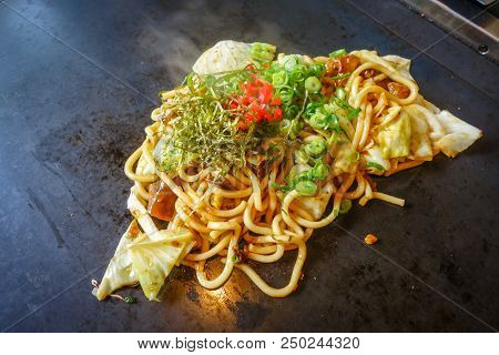 Yakisoba Teppanyaki, Japanese Traditional Hot Plate Food, Kyoto, Japan