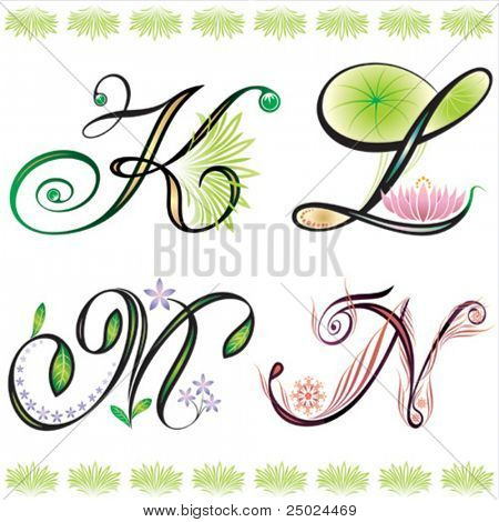 alphabets elements design -  series K to N