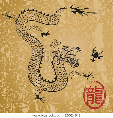 Ancient Chinese Dragon and texture background, vector illustration file with layers