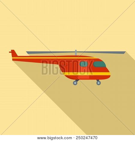 Rescue Helicopter Icon. Flat Illustration Of Rescue Helicopter Vector Icon For Web Design