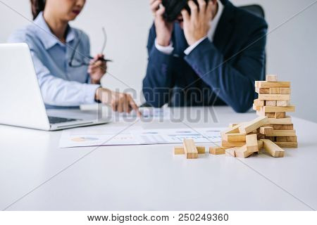 Boss And Executive Team Feeling Stress And Serious Of Fail Business, Team Dispute Of Failure And Exh