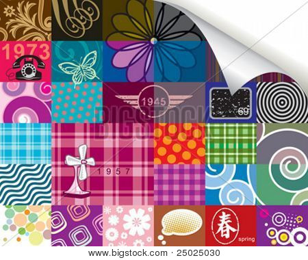 Retro pattern and corner paper roll(can delete)  design, vector layered.