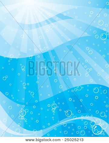 Abstract background of sunlight underwater. Vector Layered.