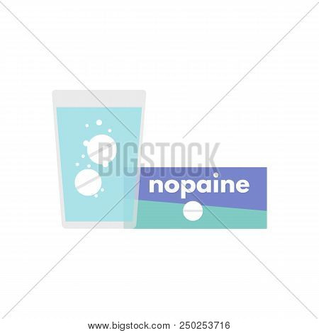 Effervescent Soluble Tablet. Pain Reliever, Analgesic Tablets Icon In Flat Style Design. Vector Illu
