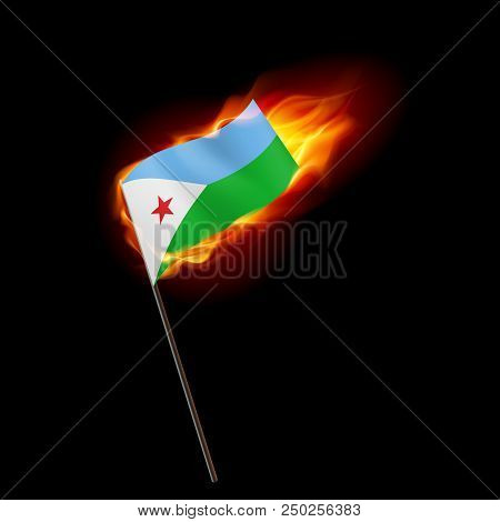 Flag Of Djibouti. Concept Illustration Of Crisis Or War Conflict With Djiboutian Flag
