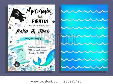 Mermaid And Pirate Party Invitation With Holographic Background, Mermaid Tail, Pirate Flag And Doodl