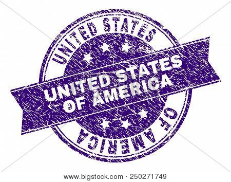 United States Of America Stamp Seal Watermark With Distress Texture. Designed With Ribbon And Circle