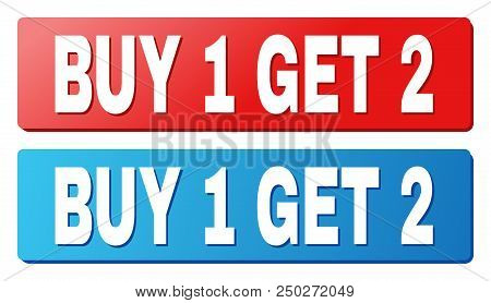 Buy 1 Get 2 Text On Rounded Rectangle Buttons. Designed With White Caption With Shadow And Blue And