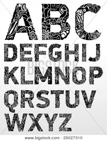 Vector abstract flower font