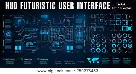 Futuristic Blue Virtual Graphic Touch User Interface, Hud Interface, Sci-fi Futuristic Hud Dashboard