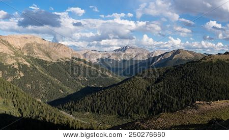Casco Peak 13,908 Feet And La Plata Peak 14,361 In Central Colorado. Viewed From The Top Of Independ